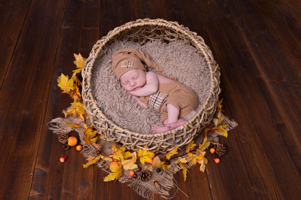 träumendes Neugeborene auf braunem Felll umgeben von herbstlich verfärbten Blättern
