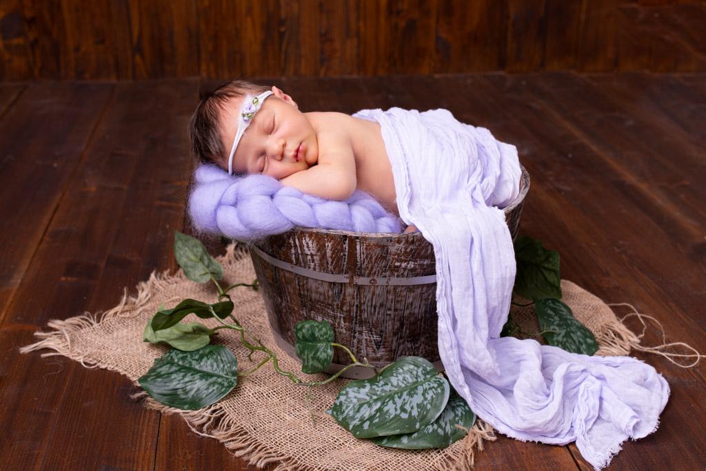 schlafendes neugeborene in einem Eimer flieder carina rosen fotografin für neugeborene